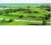 Aerial photo Cahokia Mounds located in Illinois.