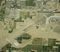 Aerial photo of the Yuma airfield landing strip.